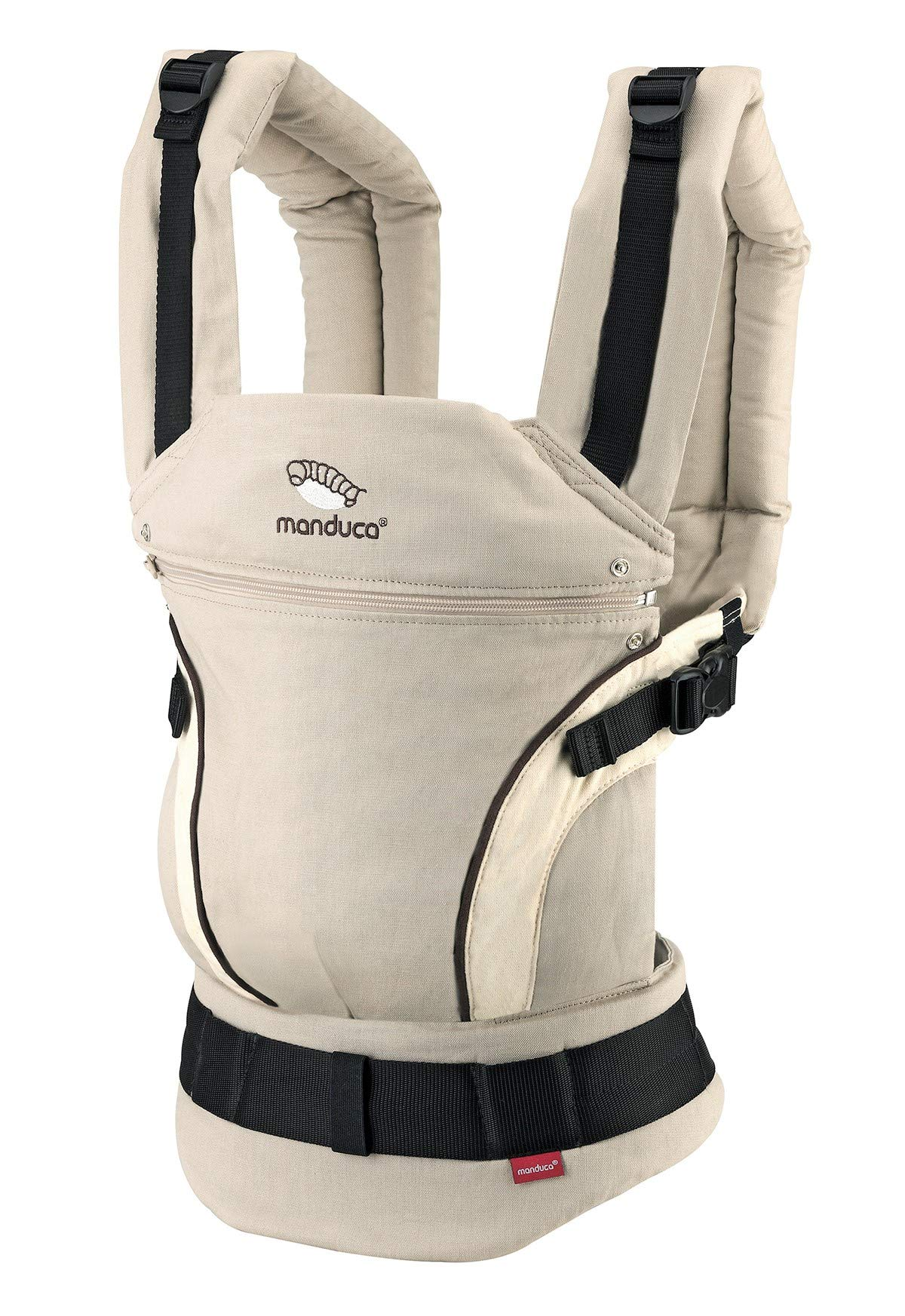 manduca First Baby Carrier > HempCotton Sand < Ergonomic Baby Carrier, Soft & Sturdy Canvas (Organic Cotton & Hemp), Front Carry, Hip Seat and Back Carry, from Newborn to Toddlers up to 20kg, Beige Manduca New features: Improved three-point-buckle (secure & easy to open); extra soft canvas made of 45% hemp and 55% organic cotton (outside), 100% organic cotton lining (inside) Already integrated in every baby carrier: infant pouch (newborn insert), stowable headrest & sun protection for your baby, patented back extension (grows with your child); Optional accessories for newborns: Size-It (seat reducer) and Zip-In Ellipse Ergonomic design for men & women: Soft padded shoulder straps (multiple adjustable) & anatomically shaped stable hipbelt (fits hips from 64cm to 140cm) ensure balanced weight distribution. No waist-belt extension needed 2