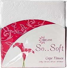 Origami So Soft 2 Ply Table Top Napkins - 50 Serviettes (Plain)