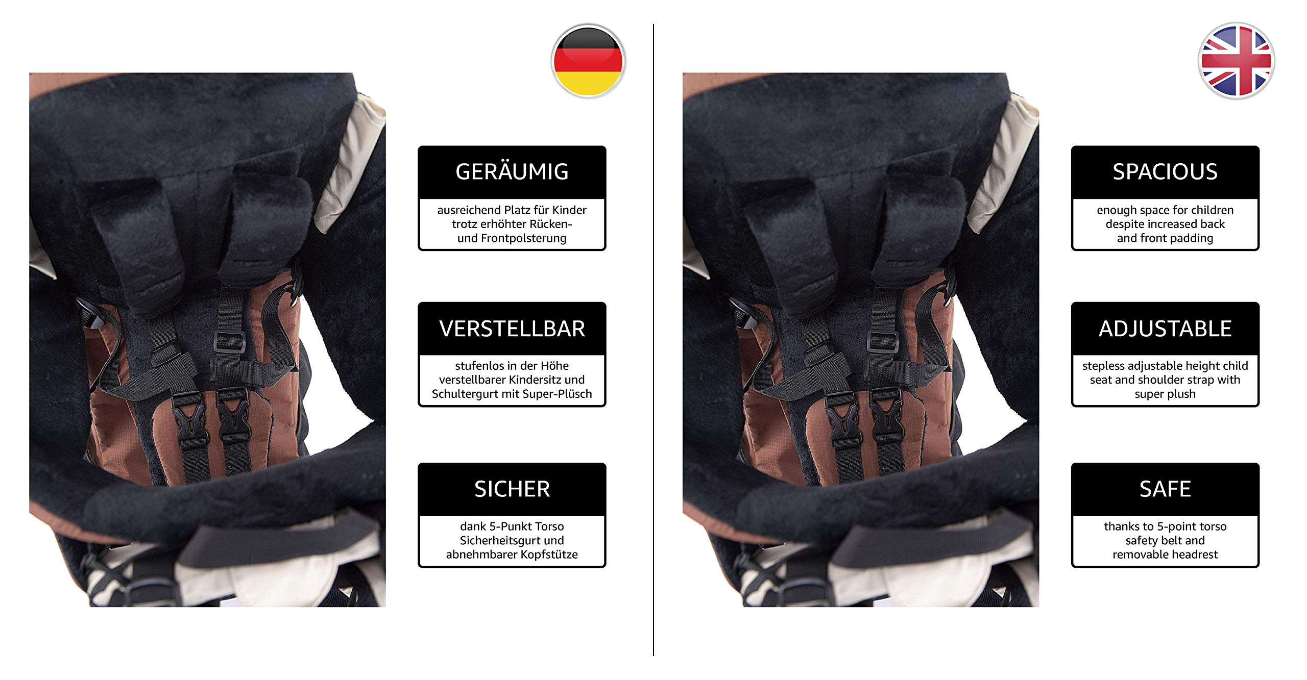 MONTIS RANGER PRO - Premium Backpack/Child Carrier - Holds up to 25kg M MONTIS OUTDOOR 89cm high, 37cm wide | Carries loads up to 25kg, seat bag 30L | Approx. 2.3kg (without extras) Easy-clean outer material | Fully-adjustable, padded 5-point child harness Super soft plush lining, raised wind guard, can be loaded from both sides | Fully-adjustable carry support system, additional ergonomic options for women | Comfortable waist belt for extended wearing with side pockets 9