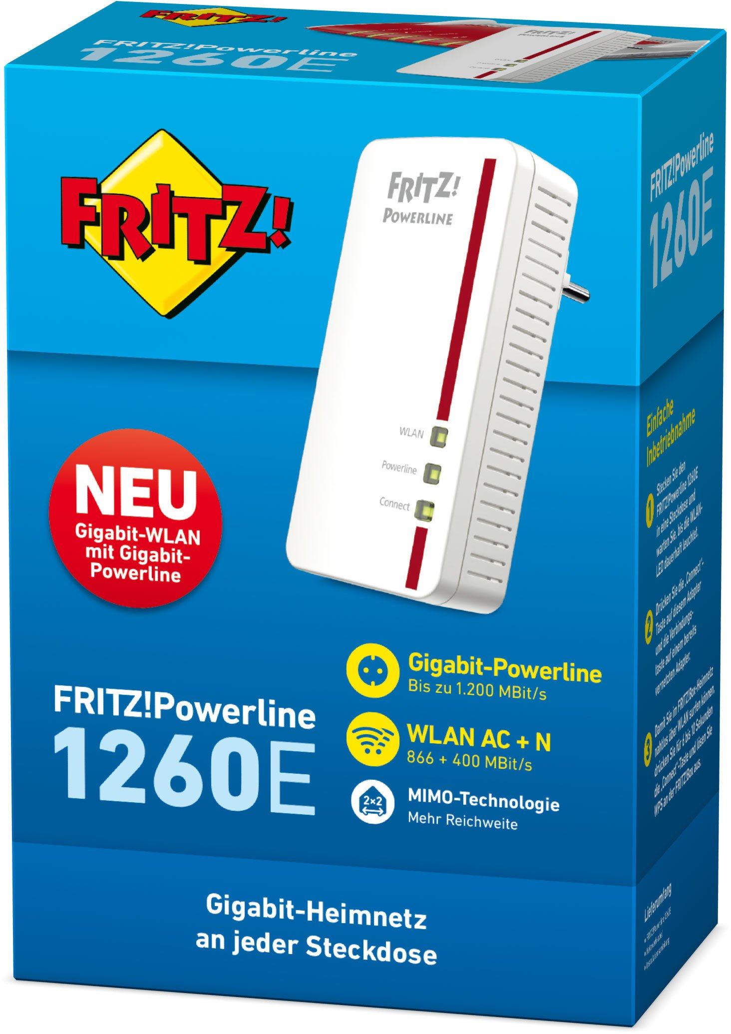 AVM Fritz Powerline 1260E Single-Adapter (1.200 MBit/s, WLAN-Access Point, ideal für Media-Streaming oder NAS…