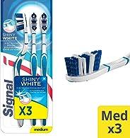 Signal Toothbrush Shiny White Medium Multipack x 3 pcs, Multicolor 67553309