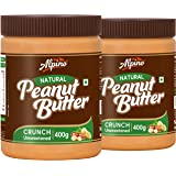 Alpino Natural Peanut Butter Crunch 800 G | Unsweetened | Made with 100% Roasted Peanuts | No Added Sugar | No Added…