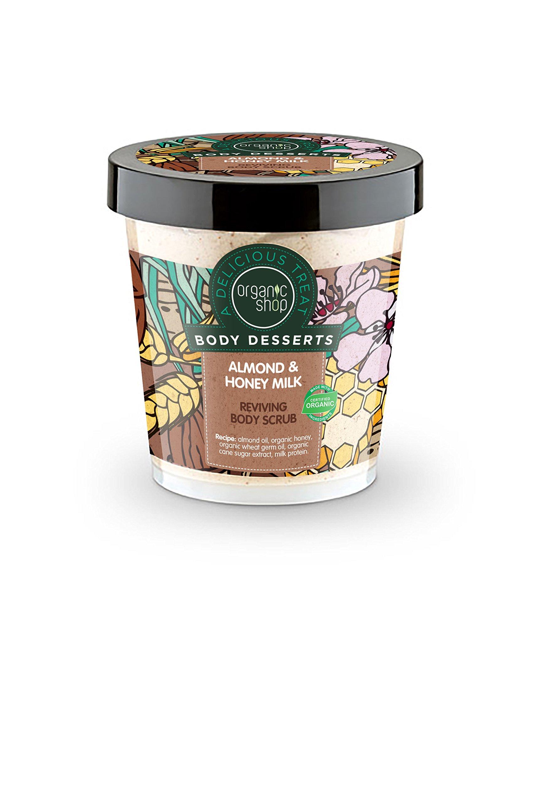 Organic Shop Exfoliante Corporal Revitalizante con Leche de Almendras y Miel – 450 ml