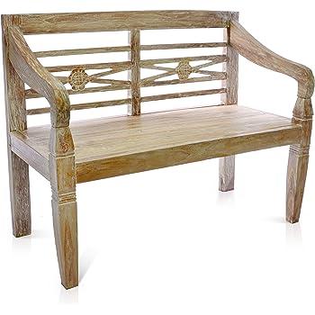 DIVERO 2 Sitzer Stabile Antike Gartenbank 115 Cm Massiv Teak Holz  Handarbeit 2 Personen