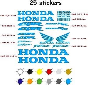 Aufkleber Set Für Motorrad Vinyl 7 Jahre Gestanzt Kompatibel Mit Honda Cbr 600 Rr Enthält 25 Aufkleber Hellblau Auto
