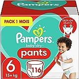Pampers Couches-Culottes Baby-Dry Pants Taille 6 (+15kg) Maintien 360° pour Éviter les Fuites, Faciles à Changer, 116 Couches