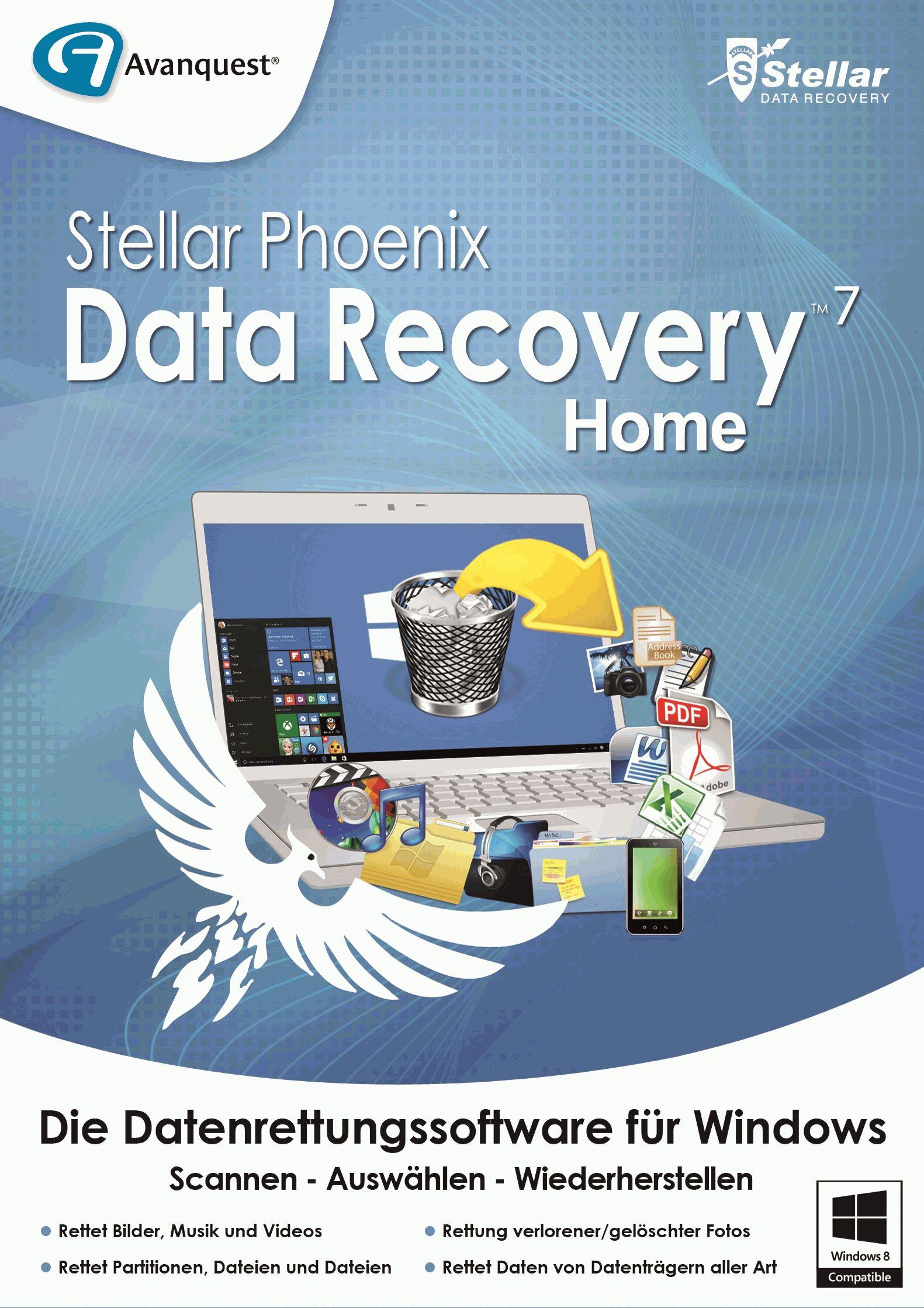 Stellar Phoenix Data Recovery 7 Home - Datenrettung in drei einfachen Schritten: Scannen, Auswählen, Wiederherstellen! Windows 10|8.1|8|7|Vista [Download]
