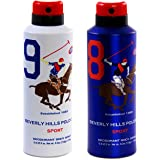 Beverly Hills Polo Club Sports No.9 & No.8 Deodorant Combo Pack For Men, 175 ml