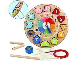 Orologio Giocattolo Bambino Montessori Giocattoli de Puzzle in Legno 4 in 1 Regalo Educativi Giochi per Bambini 3 4 5 6 Anni