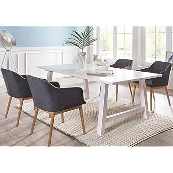 SalesFever® Tischgruppe Ando 5-teilig, Tisch 200x100 cm, weiß ...