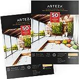Bloc de papier Arteza pour marqueurs , pack de 2, 50 feuilles, papier à revêtement lisse pour feutres , pour marqueurs à alco