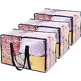 Vieshful 3 paquet Sacs de Rangement Transparents 110 L Énorme Sacs à Vêtements Avec Double Fermeture à Glissière Poignées Rob