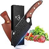 Couteau à Désosser Japonais Couteau Viking Couteau Cuisine Acier Carboné Coupant Couteau de Boucher Professionnel Couteau à V