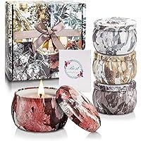 Yinuo Candle Bougie Parfumées Bougie Aromatique Boîte Cadeau 4 Canettes, Cire de Soja Naturelle, d'une Durée de 25-30 Heures, 4,4 OZ, Ensembles de Bougies avec Carte de Voeux