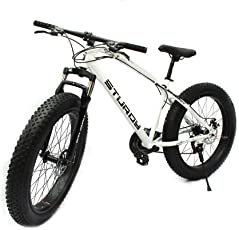 Sturdy Bike Fat Mountain Bike With 26X4 Inch Tyres - (White)