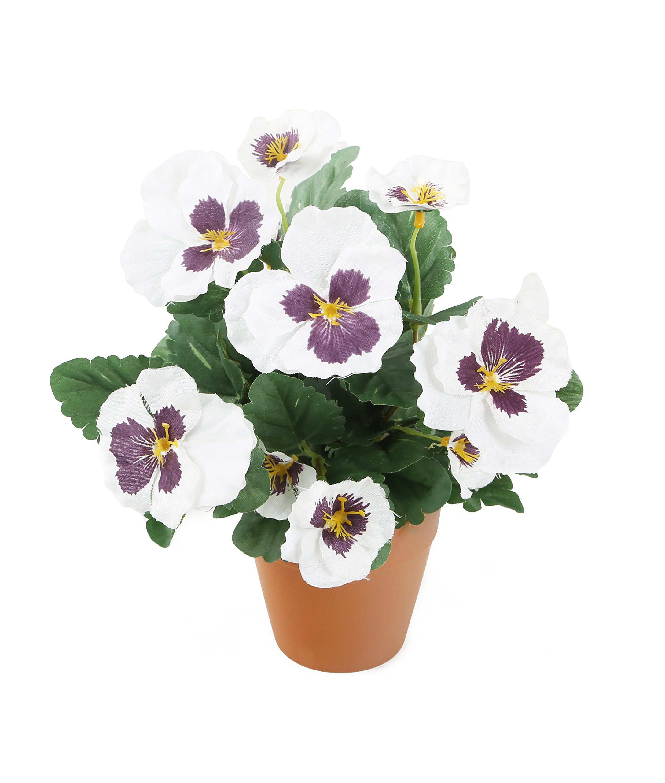 Artificial fake house plant green leaves white flowers pansy garden artificial fake house plant green leaves white flowers pansy garden 30cm pot na mightylinksfo