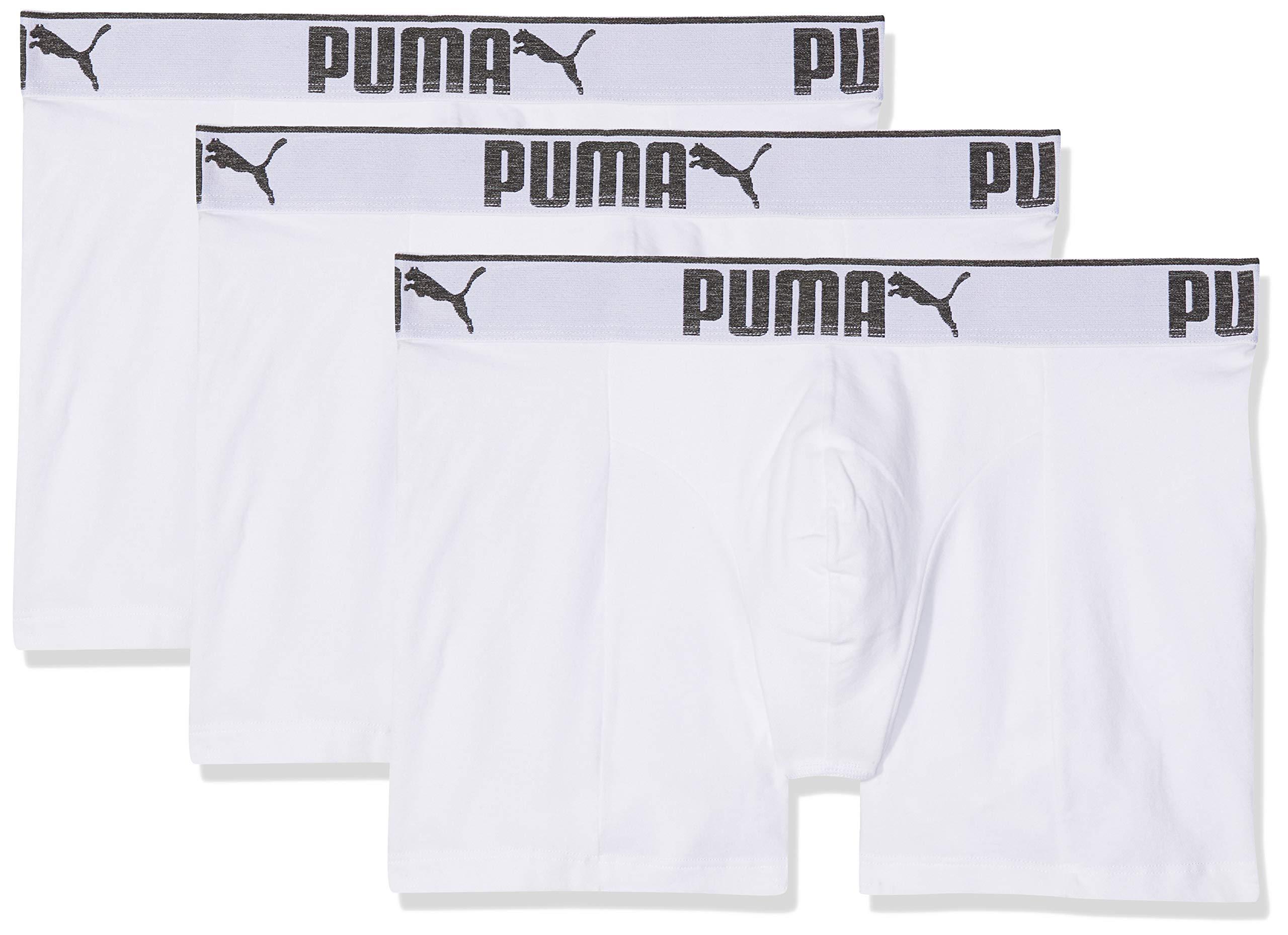 PUMA 3 x Mens Sueded Cotton Boxer Shorts White