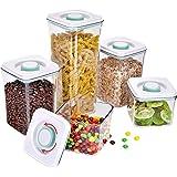 JSLOVE Boîte de Rangement Cuisine Lot de 5, Boîte de Conservation Alimentaire Plastique avec Couvercle, Récipients Hermétique