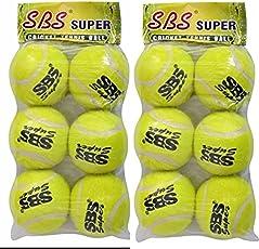 SBS SUPER Rubber Woolen Cricket Tennis Ball (Multicolour) - Pack of 2, 6 Each