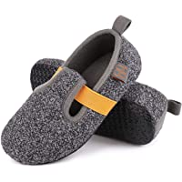 VeraCosy Boys Girls Unisex Comfy Wool Felt Slippers with Elastic Strap Light Weight Anti-Skid Kids House Shoes
