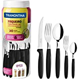 Tramontina Ipanema 23398088 - Set di posate per 6 persone, 30 pezzi, in acciaio INOX, manico nero