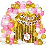 Party Propz Birthday Decoration Kit for Girls - 34Pcs Pink, White Golden Metallic Birthday balloons for Girls Decoration, Gol