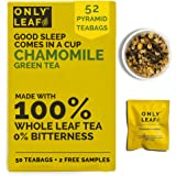 ONLYLEAF Chamomile Green Tea For Stress Relief & Good Sleep, Made with 100% Whole Leaf & Natural Chamomile Flowers, 52…