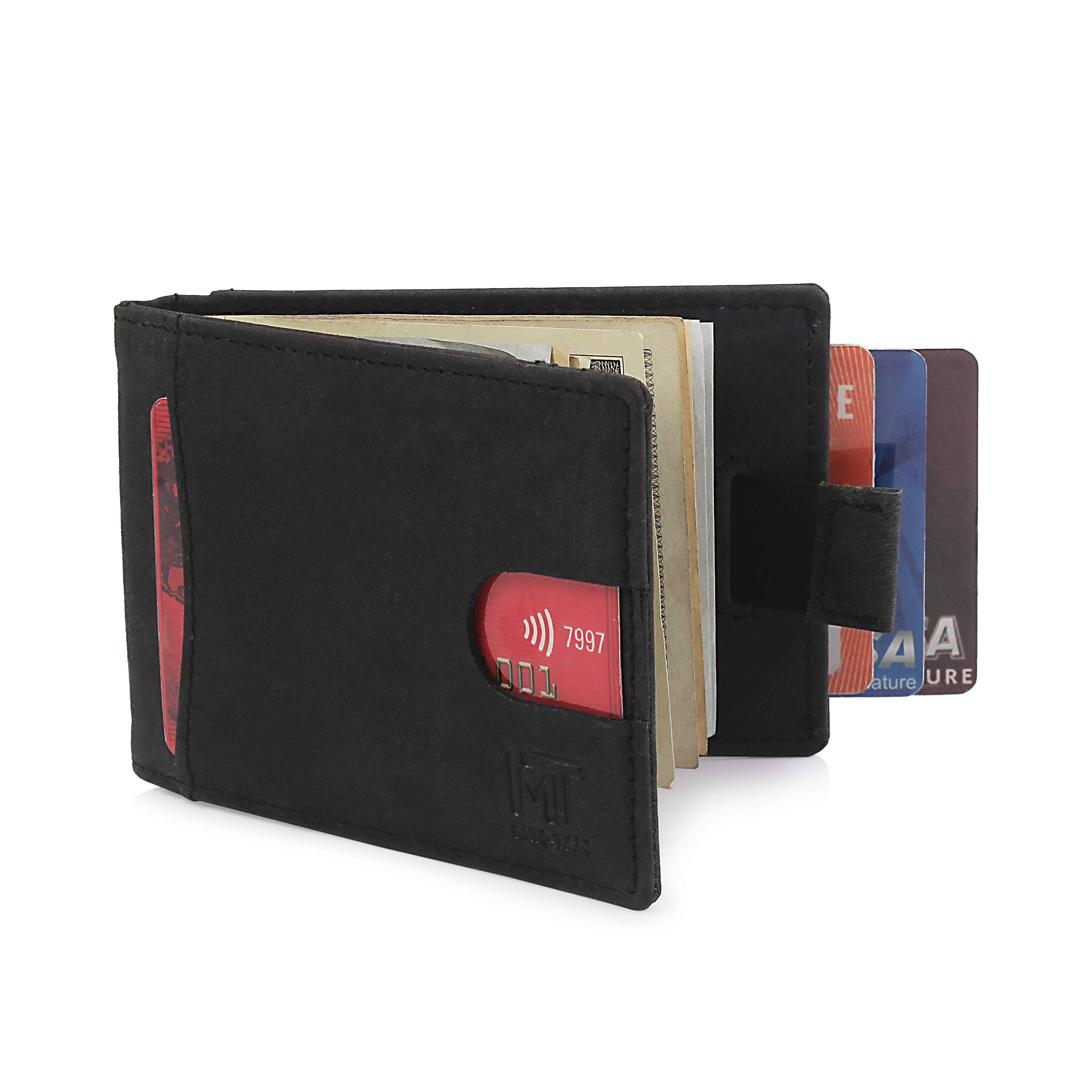 MIN-TAN RFID Blocking Slim Bifold Genuine Leather Minimalist Front Pocket Wallets for Men with Money Clip