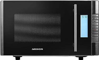 MEDION MD 14482 Mikrowelle mit Grill, 20L Garraum, 8 Automatikprogramme, Auftaufunktion (800 Watt Mikrowellen- und 1000 Watt Grillleistung), Zeitschaltuhr, Grillrost, silber/schwarz