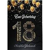 Elegante wenskaart A5 verjaardagskaart met nummer en felicitaties zwart goud 18e verjaardag goud 1