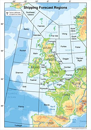 United Kingdom Shipping Forecast Regions Map Poster Informative - Norway map amazon