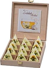 Creano Teelini Teeblumen im Tassenformat, Geschenkset in Teekiste aus Holz, 12 ErblühTeelini in 4 Sorten   Weißer Tee