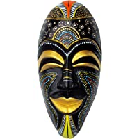 New Life Terracotta Handcrafted Wall Hanging African Mask (40 cms, Multicolour)