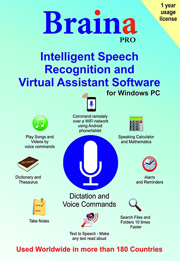 Braina Pro Speech Recognition and Voice Commands software (1 Year License) [Online Code]