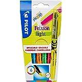 PILOT FriXion Light, uitwisbare markeerstiften, set van 6 (neonroze, neongeel, violet, blauw, oranje, groen)