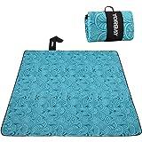 Yorbay picknickdeken 200 x 200 cm XXL fleece waterdicht deken met draaggreep (Blauwe veer)