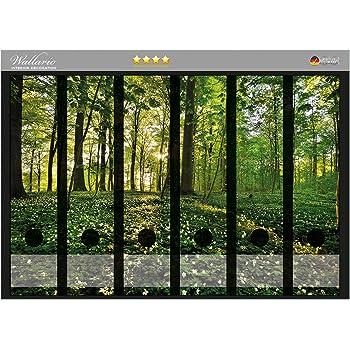 Wallario Ordnerrücken selbstklebend für 6 breite Ordner Sonnenstrahlen Wald