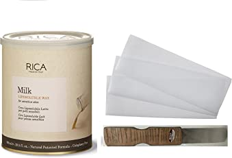 Rica Milk Liposoluble wax For senstive Skin 800 800 ml + 1Pack Waxing Strips(50 strips) + 1 Spatula