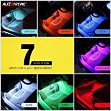 AllExtreme EX9LRC4 9 LED Car Interior Strip Lighting Kit with Car Charger and Wireless IR Remote (6W)