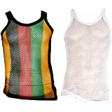 UD Accessories 100% Cotton Rasta STRING VEST Mesh Fishnet Fitted Striped Black Red Green Yellow Colours