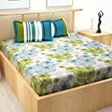 Story@Home Majestic Collection 152 TC Cotton Double Bedsheet with 2 Pillow Covers (Blue and White, Queen)