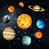 Yosemy Autocollants Lumineux 9pcs Planètes Étoiles Lumineuses Système Solaire Planètes Fluorescent Stickers Muraux Décoration