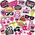 WOBBOX Eight Birthday Photo Booth Party Props Pink for Baby Girl , 8th Birthday Decorations for Girl , Kids Birthday Party De