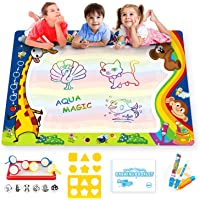 Aqua Water Doodle Mat Large 100*80 cm with 3 Magic Pens for Kids Mess Free Water Drawing Painting Mat -Toddler Toys 2 3 4 5 6 Year Old, Learning Toys for 2 Year Children with Stamps and Drawing Book