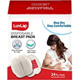 LuvLap Ultra Thin Disposable Breast Pads, Super Absorbent, Discreet Fit, Pack of 24 (White)