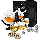 Toys4Boys zestaw dekanter do whisky – karafka globusowa ze szkła 850 ml – 2 szklanki do whisky – kula ziemska do whisky z sta