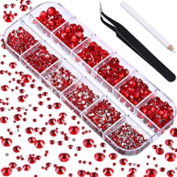 2000 Pieces Flat Back Gems Round Crystal Rhinestones 6 Sizes (1.5-6 mm) with Pick Up Tweezer and Rhinestones Picking Pen for Crafts Nail Face Art Clothes Shoes Bags DIY (Red)