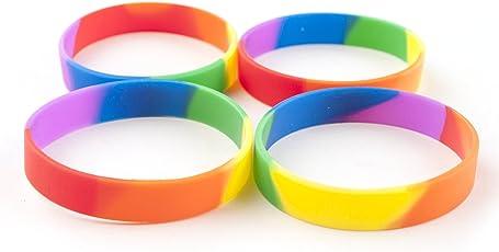 Gogo 10 pz Gomma braccialetti arcobaleno orgoglio in silicone, bracciali, bomboniere.