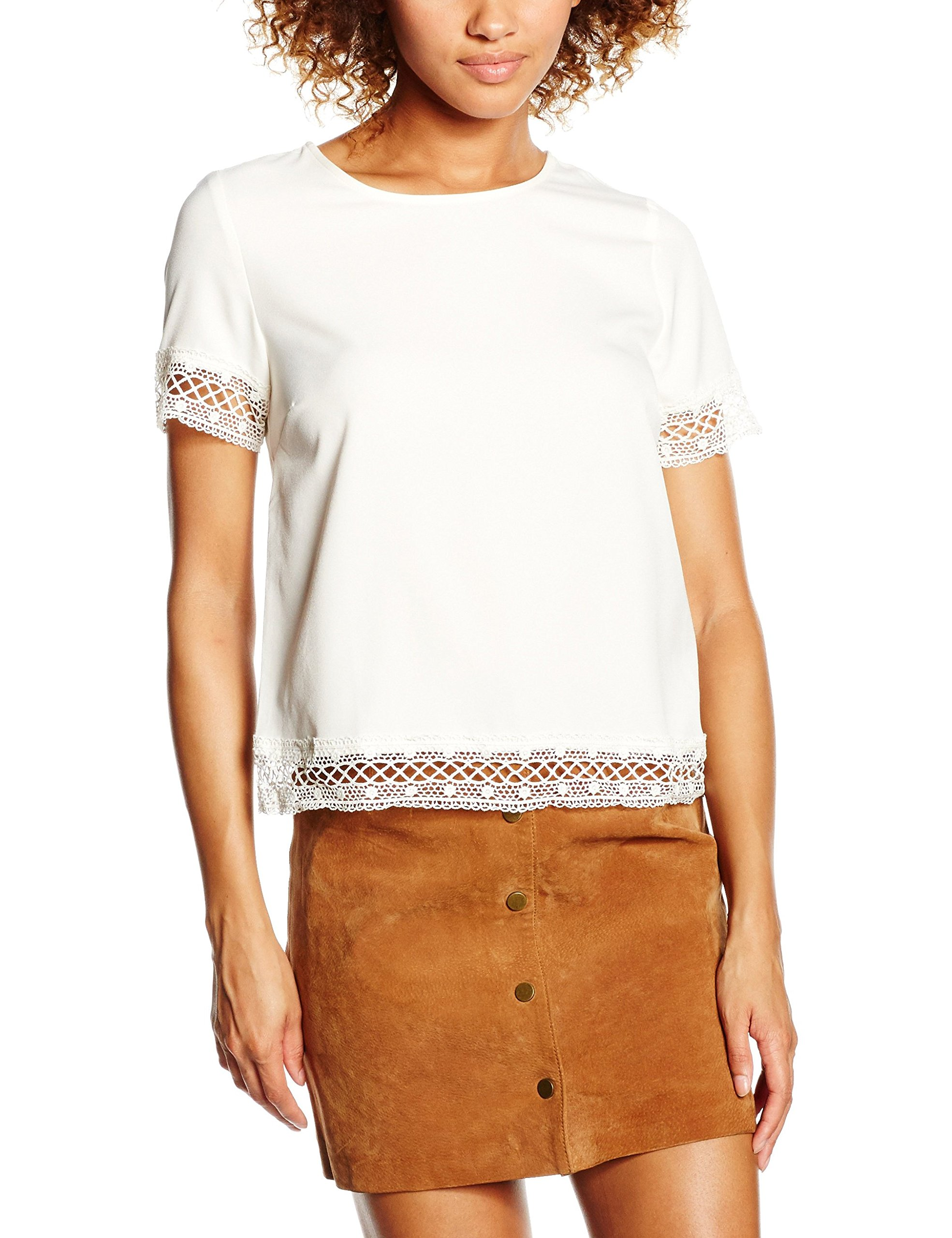 New Look Lace Trim, Top Donna, Bianco Avorio, 36