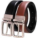 RBOCOTT Cinturón de Cuero Reversible para Hombres,Negro,Marrón ,Utilizable en ambos lados,Envoltura de Regalo ,Ancho 33mm